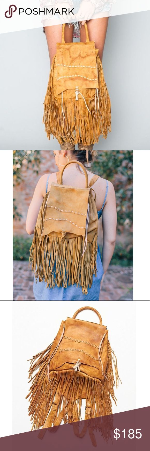 "Pamela V for Free People Rochelle leather backpack Can one ever go wrong with fringe? This dream of a backpack is fit for festival season or even just trotting around town in throughout the day. Features incredible, leather work detail & is handmade in Peru.   Materials: 100% Genuine Leather, not lined.  Color: Weathered Tan  Measurements: Length: 16, With Fringe: 26"", Width: 11"" (Adjustable straps) Free People Bags Backpacks"