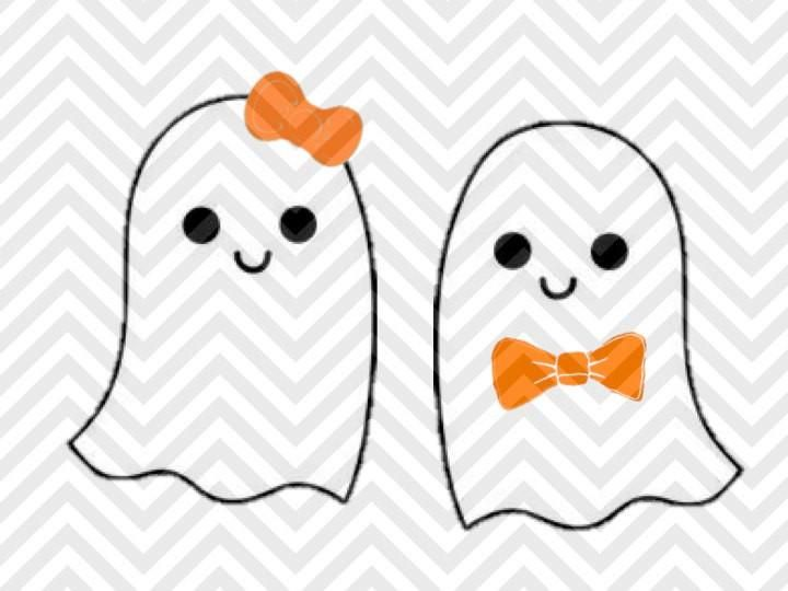 Cute Ghost Halloween Girl Boy Bowtie Bow SVG and DXF Cut ...