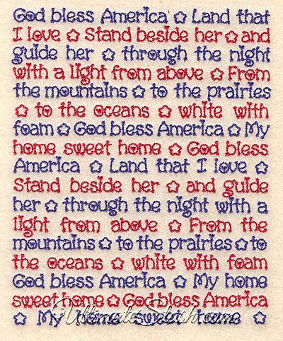 God Bless America Song Lyrics USA Patriotism Machine Embroidery Design