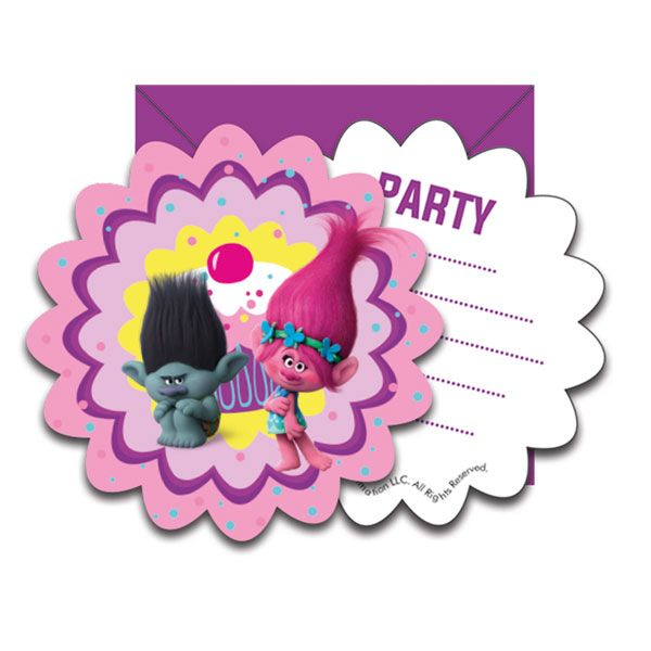 Trolls Party Party Invitation Cards, Cups, Plates & Napkins plus Trolls themed Party Decorations, Balloons & Party Bag Fillers with FREE UK Delivery