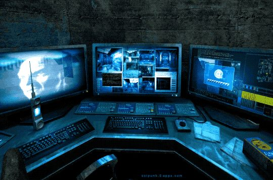 SP. 104 Nikopol: Secrets of the Immortals (2008) Security room. Cyberpunk Games & Cyberpunk Aesthetic