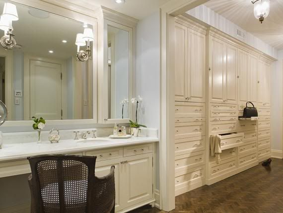 Suzie: Taylor Hannah Architect - Gorgeous walk-in closet with white built-in vanity with marble ...