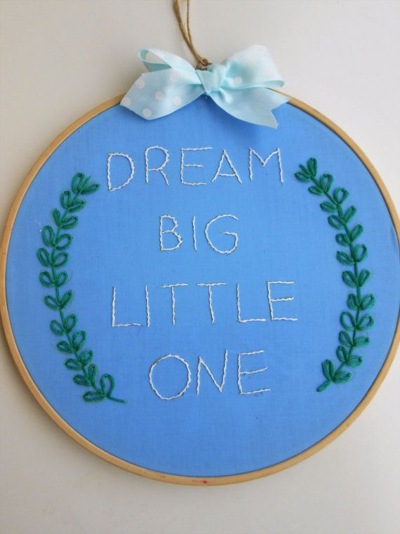 baby embroidery hoop art nursery gift baby wall art nursery gift idea new born gift home decor embroidery quote unique wall art dream big