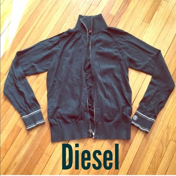 DIESEL Zipper Top Zipper cardigan/ thin sweater jacket. Jungle green color. 100% cotton. Says XL but fits a woman's Small/Medium. Diesel Sweaters Cardigans