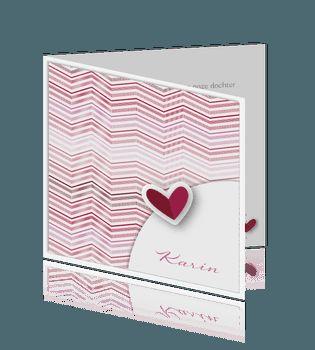 Stijlvolle klassieke babykaart meisje met roze hart. #baby #meisjes #geboortekaartje #geboortekaartjes