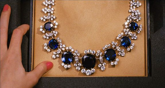 Bvlgari diamond and sapphire necklace worn by Selena Gomez in Monte Carlo.