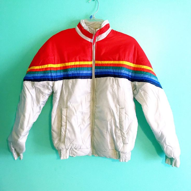 """Vintage 70s rainbow puffer jacket coat Length 25"""" Pit to"""
