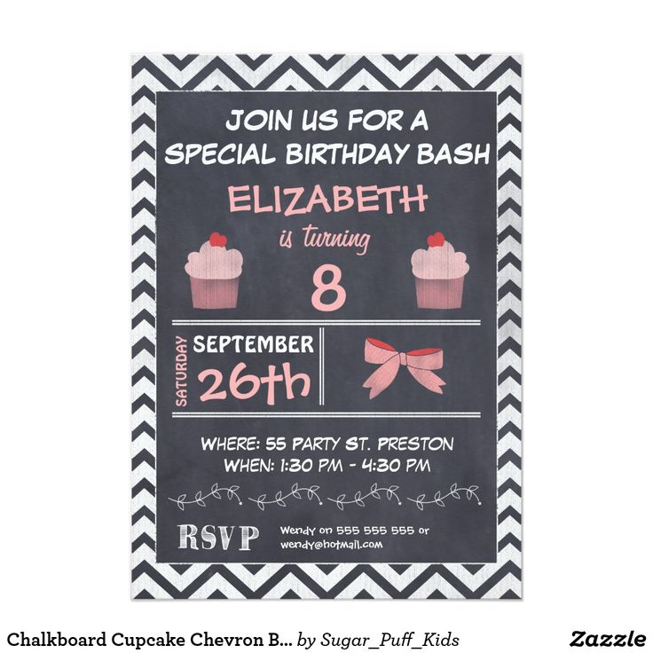 Chalkboard Cupcake Chevron Birthday Invitation This girl's chalkboard birthday invitation features two cute cupcakes, a bow and a chevron pattern border on a scanned chalkboard background. The invitation is inspired by chalkboard art and menu boards. I've used red and pink in addition to white for emphasis and contrast. This birthday invitation can be used for various ages and is particularly suitable for as a girl cupcake theme birthday party invitation.