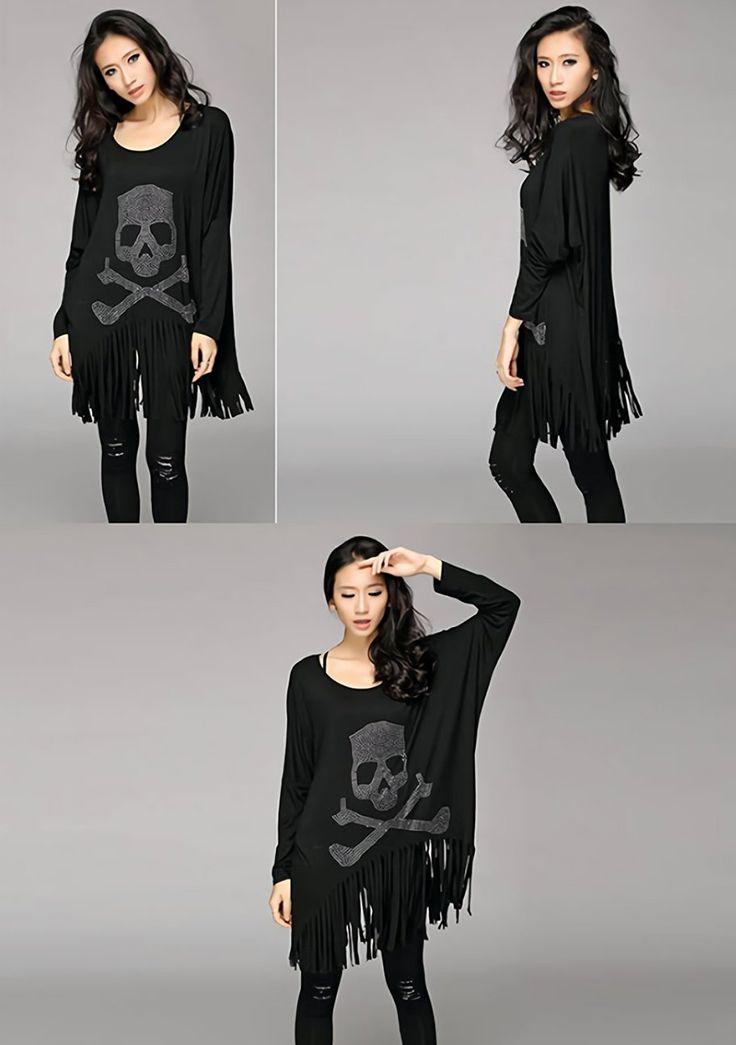 Amazon | ( スパシーバ ) spasibo レディース スカル ロンT 裾 フリンジ キラキラ ラインストーン フリーサイズ カットソー | Tシャツ・カットソー 通販