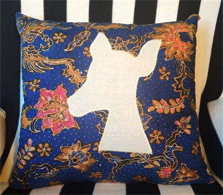 Handmade cushion baby deer fawn $40+postage  woodland handmade deer stag animals vintage print applique homewares throw pillow baby nursery living room lounge couch