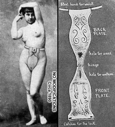Chastity belts are seriously screwed up.  I can't believe men thought it was ok to put this on a woman.  Not to mention, the hole for the anus looks awfully small. How do you poop through something like that?  Can you imagine the smell after awhile? Just a horrible, horrible device.