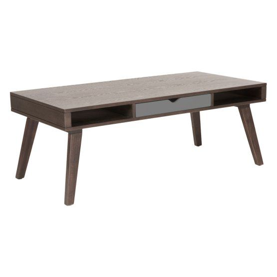Euro Style Daniel Coffee Table with Drawer - Walnut / Gray