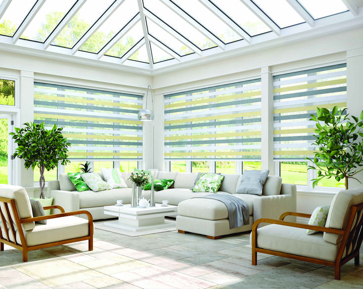 Beautiful contrasting panel Vision Blinds are practical and stylish in a Conservatory