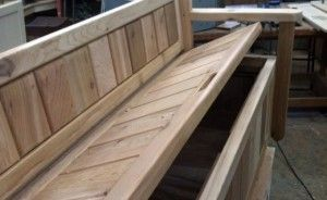 built-in benches for storage on deck