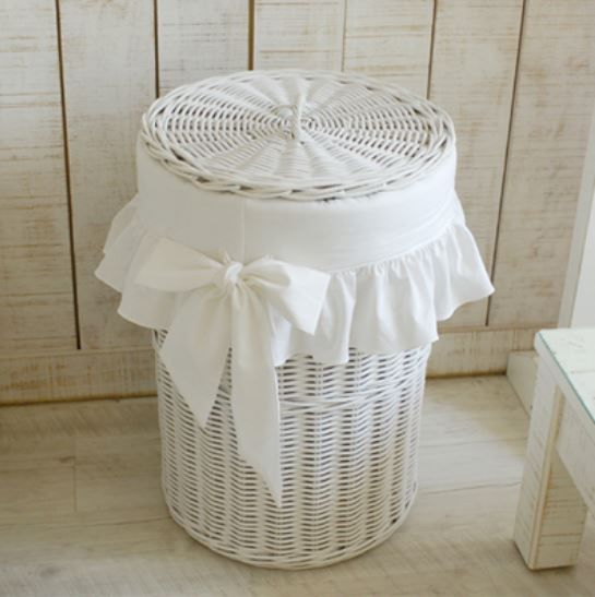 WHITE rattan laundry basket
