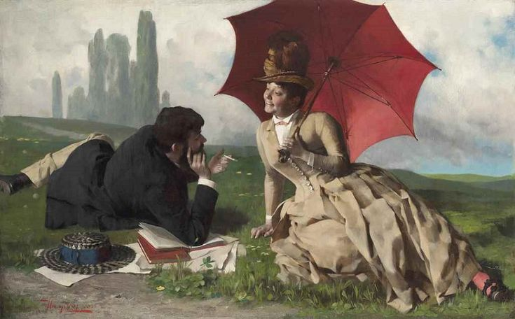 Tihamér von Margitay (Hungarian, 1859-1922) - Courting in the countryside, 1886 (Oil on canvas)