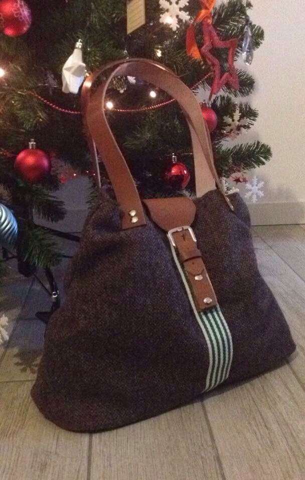 Leather and fabric bag. Hand Made. Made in Italy. https://www.facebook.com/Claire-bags-and-more-1073212409356478/