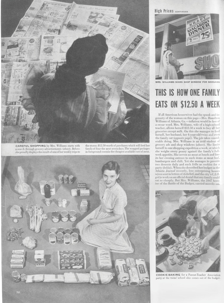 Mom the budget queen, 1940s. This housewife fed her family and cat on a mere $12.50 a week. Tight even in those days! She was featured in LIFE magazine for her extreme budgeting.