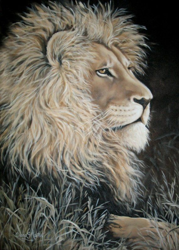 REGAL  lion print African giclee big cats by DianaMartinStudio, $9.99