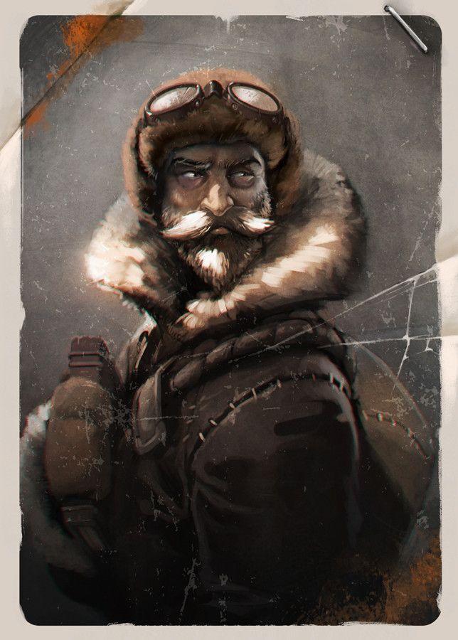 """Antartic explorer, """"biboun"""" Christophe Fossard on ArtStation at https://www.artstation.com/artwork/n1v14"""