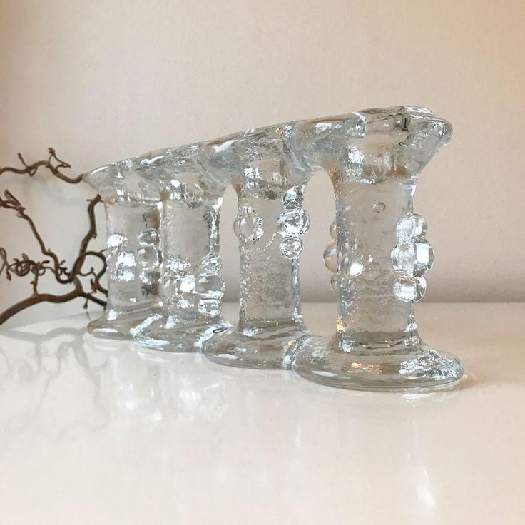 Pukeberg art glass candelabra- Four armed candelabra from the 70s. Made in Sweden, Designed by Staffan Gellerstedt. by ReOSL on Etsy