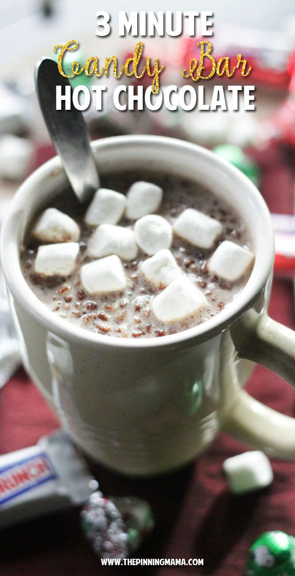 3 Minute Candy Bar Hot Chocolate Recipe - Fun idea to set up a hot chocolate bar at a christmas party for the kids!