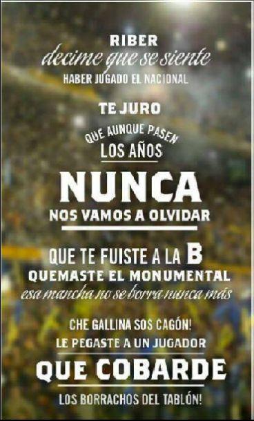 riBer 0 BOCA 1 HIJOS NUESTROS MORIRAN por nora - Cargadas a River - Fotos de Boca Juniors, Fotos de Boca Juniors. Comparte tus fotos de Boca, de la hinchada xeneize, jugadores de la selección, partidos, ...