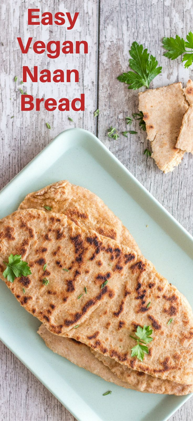 Easy Vegan Naan Bread, which is super simple, yet flavourful. Serve them with a dahl, bean stew, or make a sandwich with hummus and falafels.  Healthy vegan recipes | healthy  | vegan | dinner | lunch | vegan dinner recipes | recipes | vegetarian | The Mostly Healthy | baking