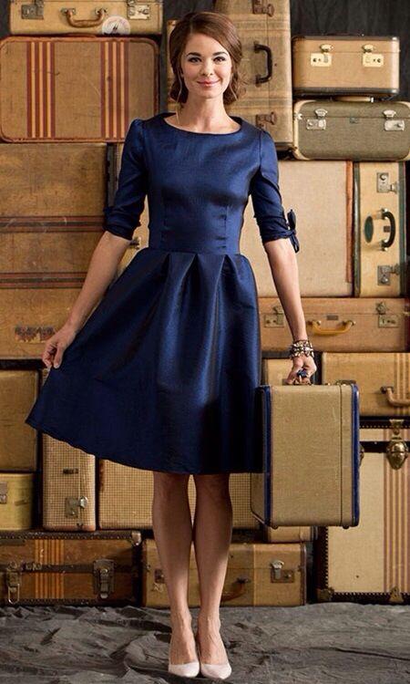 blue half-sleeve dress