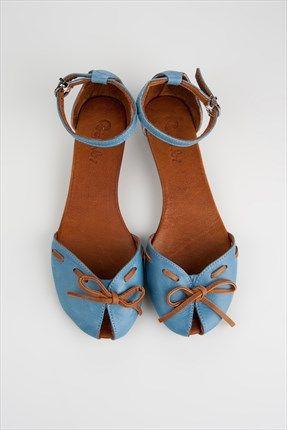 Bambi - Rengarenk Sandaletler - Hakiki Deri Açık Mavi Sandalet