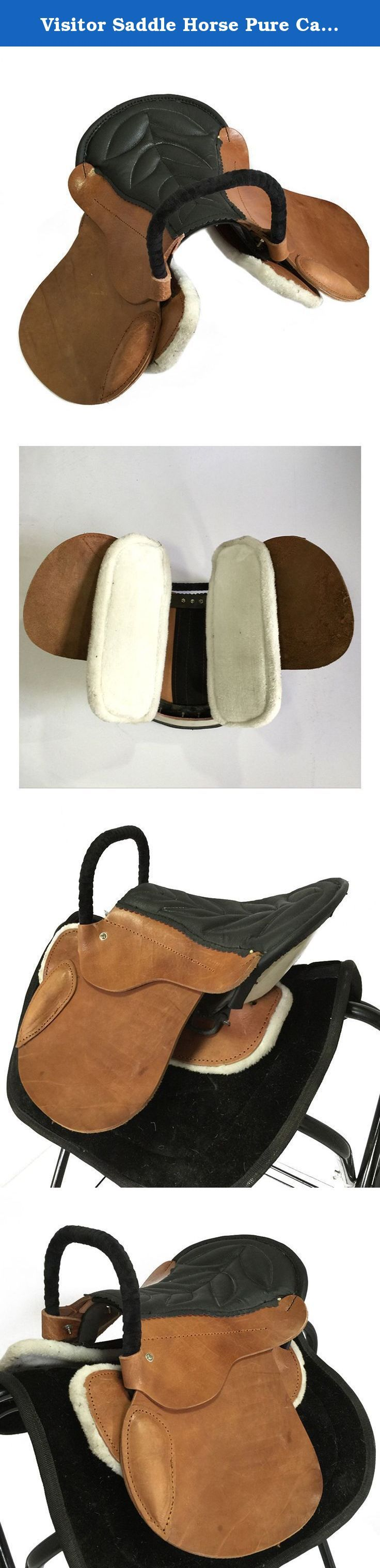 Visitor Saddle Horse Pure Cattle Leather Equestrian Supplies. Features: High cost performance Manual made of cattle leather Improved from old army saddle Comfortable riding Keep away from wet environment and blazing sun Specifications: Color:yellow brown Size:35cm Suitable to horses of normal stature with 0.8-1m shoulder Weight:7kg .