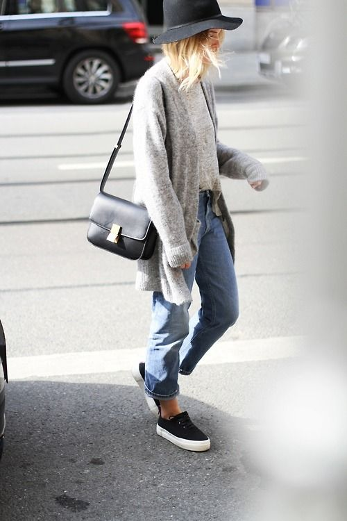hat, cardigan, tee, celine bag, jeans, sneakers #style #fashion