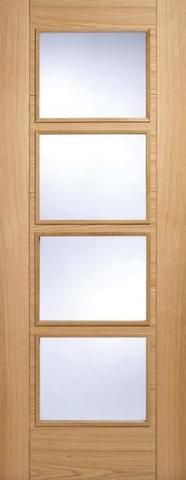 Internal Oak Vancouver 4 Light Clear Glazed Fire Door - MODA DOORS