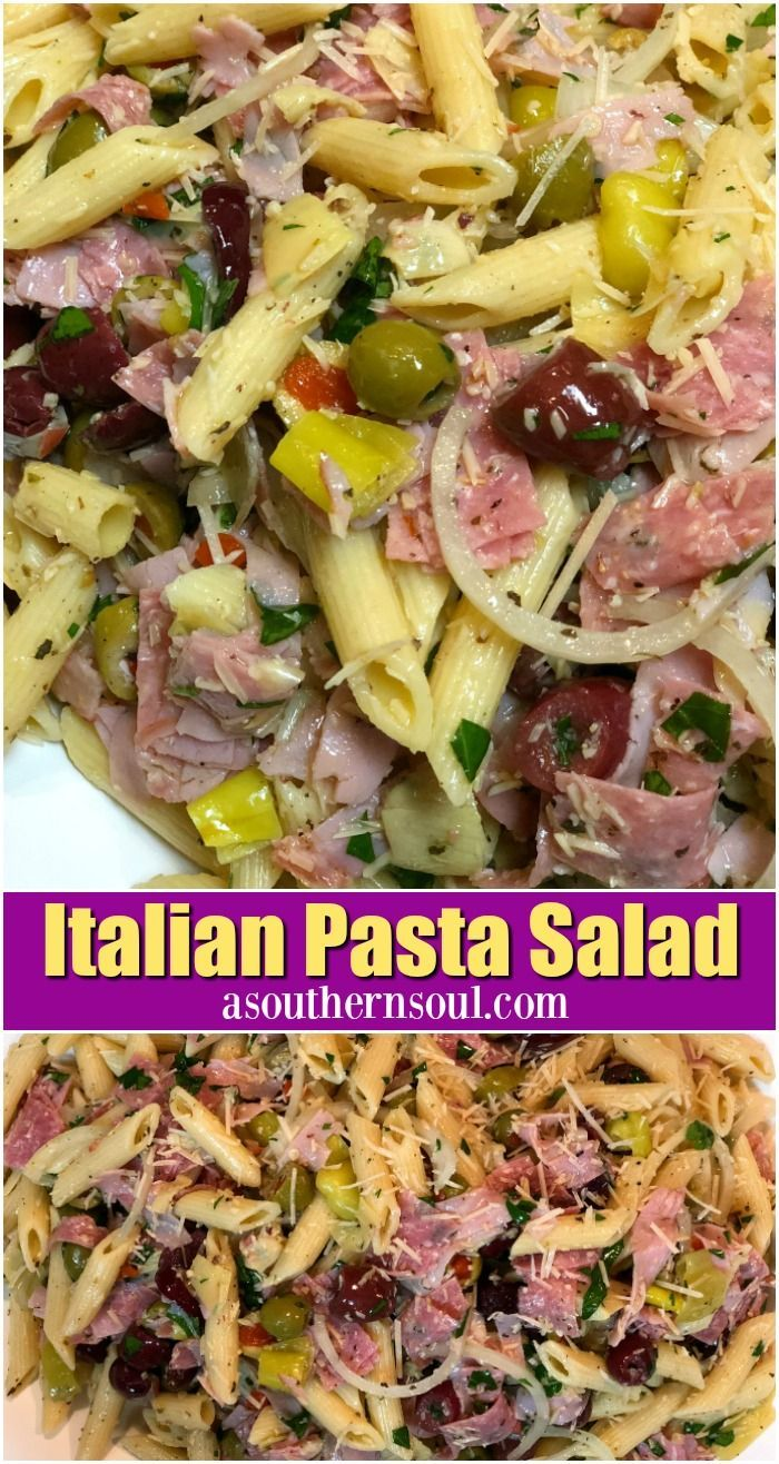 italian pasta salad with olive oil dressing with ham, salami, olives, cheese, artichokes and onions.