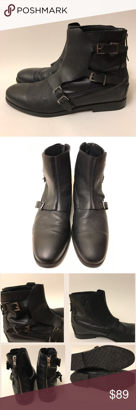 Zara Man Leather Ankle Boots Soft leather black ankle boots with 3 buckles. EU Size 45 / US Size 12 Zara Shoes Boots