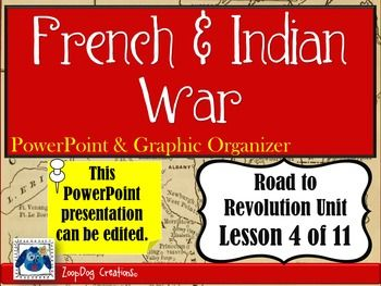 "French and Indian War. Key words include: - Edward Braddock - William Pitt - Marquis de Montcalm - Treaty of Paris - James Wolfe This PowerPoint presentation examines: - General Edward ""Bulldog"" Braddock and his unfamiliarity with North American terrain. - The Battle of Fort Duquesne. - The lost/won battles of the British and French. - Primary source excerpts from George Washington and Reverend Jonathan Edwards. - The significance of William Pitt becoming the head of the Britis..."