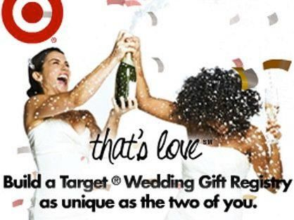 An interracial, lesbian couple celebrating love in a Target add. Whoa,  society is movin on up i see
