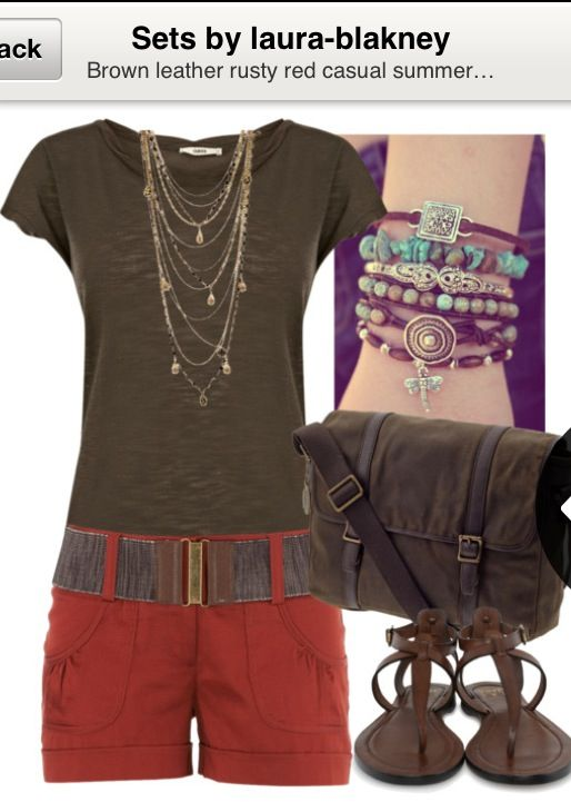 Rusty red brown shorts summer outfit polyvore
