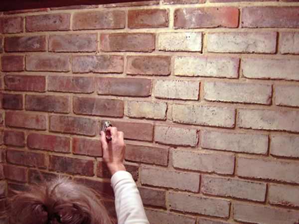 Brick dye for the ugly old brick fireplace make it look - How to make a brick fireplace look modern ...