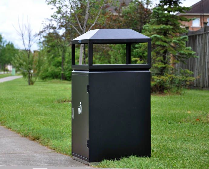 CAY-122 is a durable, outdoor garbage receptacle with an ashtray located at the top. This design makes it perfect for residential parks and commercial business buildings.