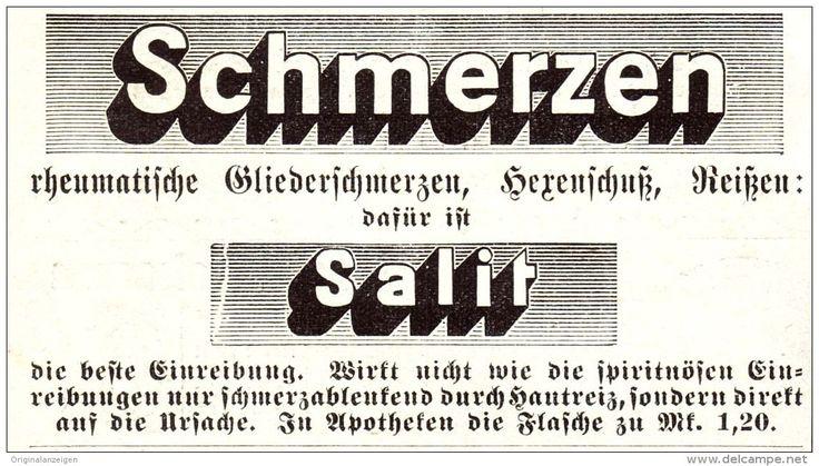 Original-Werbung/ Anzeige 1907 - SALIT EINREIBEMITTEL GEGEN RHEUMA - Ca. 90 X 50 Mm - Werbung