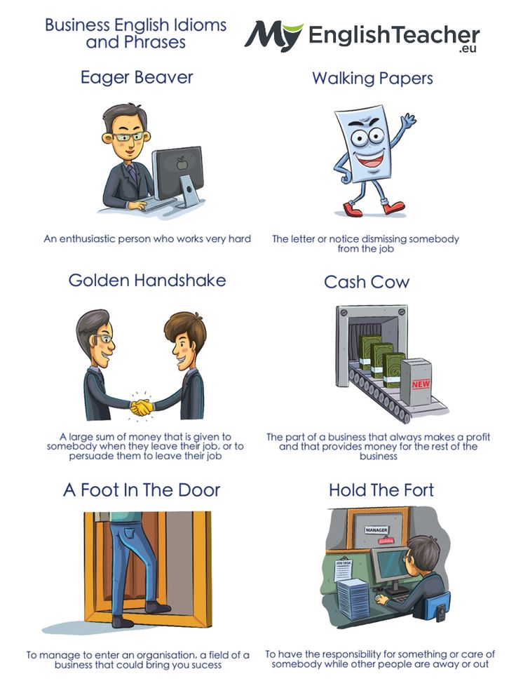 Great idioms to share with adult sudents! 10 Business English Idioms and Phrases In Use. MyEnglishTeacher.eu