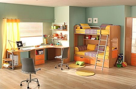 Угловые письменные столы для двоих детей