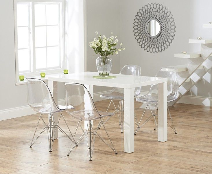 Elegant Madison 90cm Clear Glass Dining Table With Cavello Ivory White