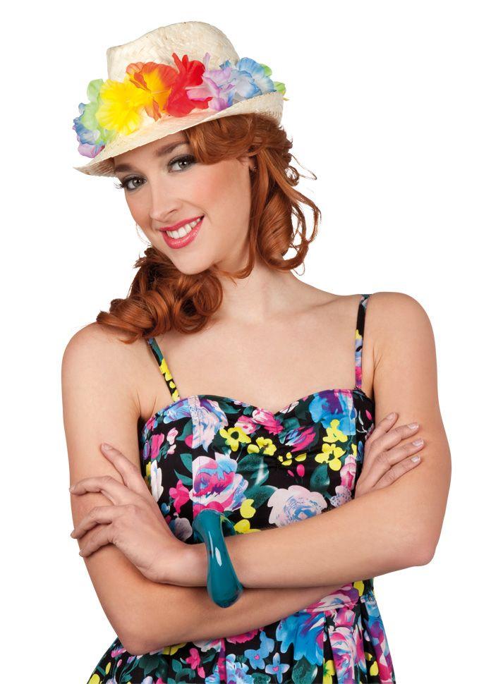 Chapéu Havaí: Esse chapéu de palha havaiano é para adulto. Possui flores de volta da cabeça. E o acessório ideal para festas havaianas.