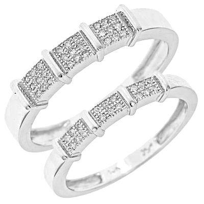 1/6 Carat T.W. Diamond Ladies' and Men's Wedding Rings 10K White Gold