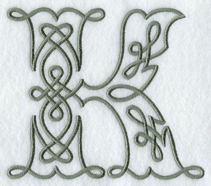 Machine Embroidery Designs at Embroidery Library! - Celtic Knotwork Letter K - 5 Inch