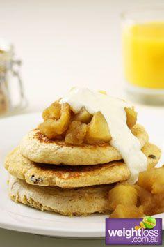 Muesli Pancakes with Cinnamon Apples. #HealthyRecipes #DietRecipes #WeightLossRecipes weightloss.com.au