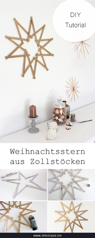 DIY Anleitung: Goldener Weihnachtsstern aus Zollstöcken