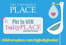 Start pinning your must-have dream baby items now through September 29th. Share your favorite pin with us for chance to WIN the grand prize!   Grand Prize: A $1000 shopping spree to The Children's Place and one (1) Big Baby Basket (filled with babyPLACE items and 15 of the top baby brand essentials). #bigbabybasketsweeps